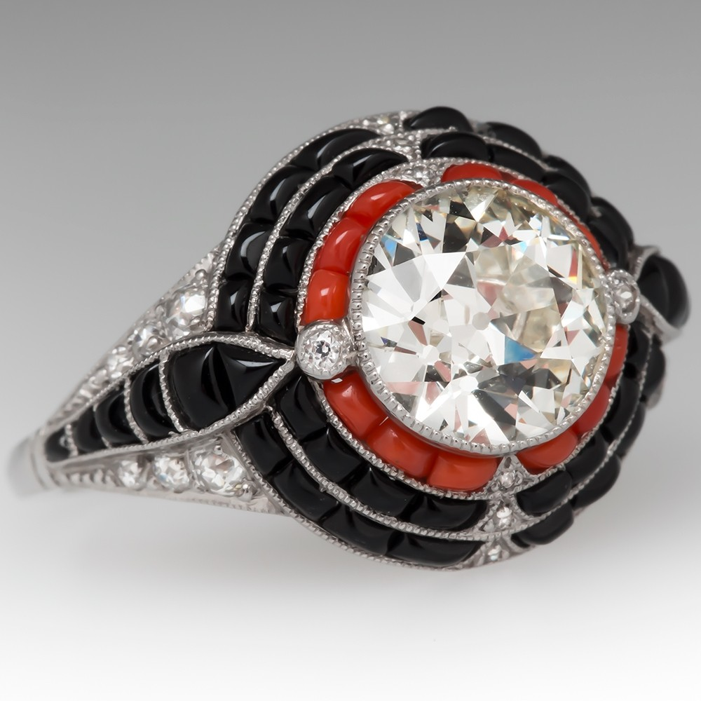 Old European Cut Diamond Ring w/ Coral & Black Onyx Platinum