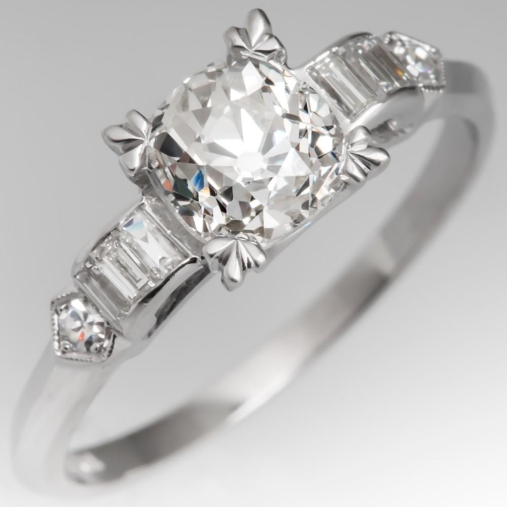Art Deco Engagement Ring 1 Carat Old Mine Cut Diamond Platinum