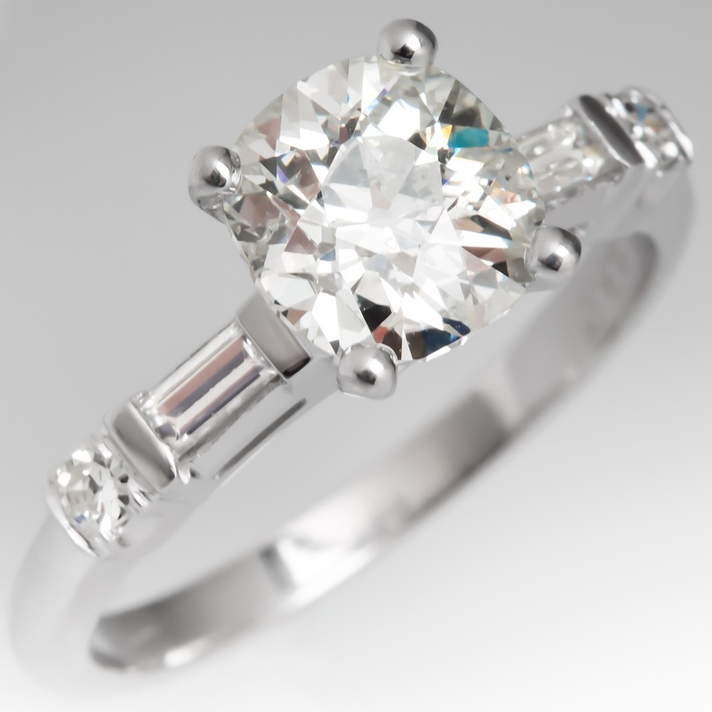 Heirloom Old Mine Cut Diamond Vintage Engagement Ring Platinum