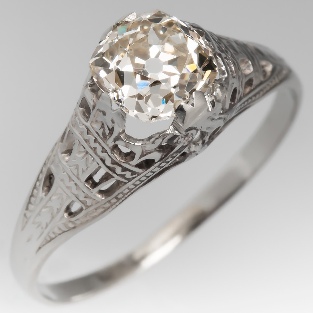 Antique Solitaire Filigree Engagement Ring Turn of Century Old Mine Cut Diamond