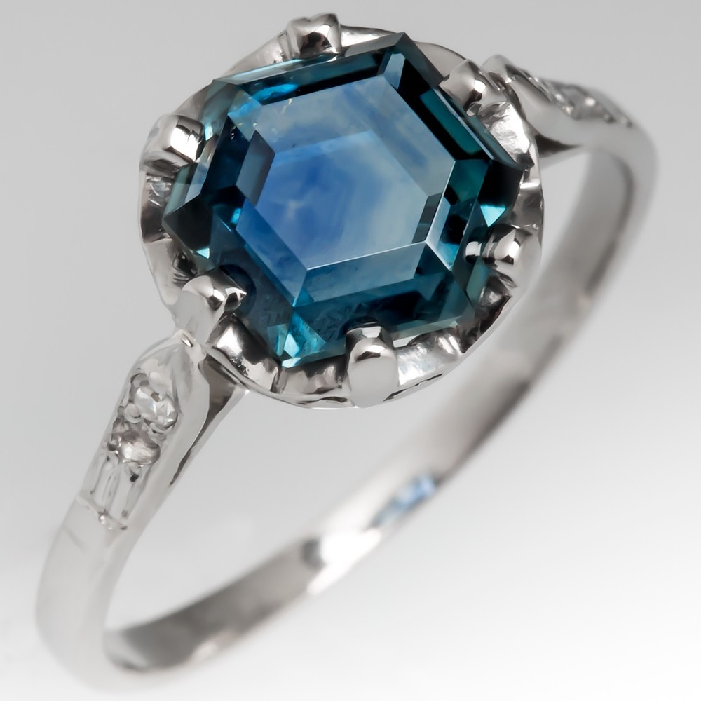 Hexagon Light Blue Green Sapphire Engagement Ring Art Deco Mount