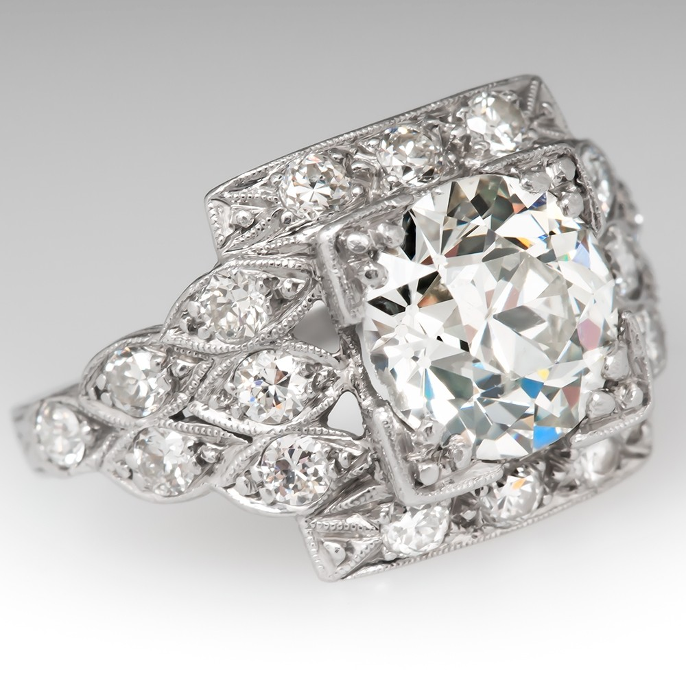 Art Deco Engagement Ring 2 Carat Old Euro Diamond Detailed Platinum