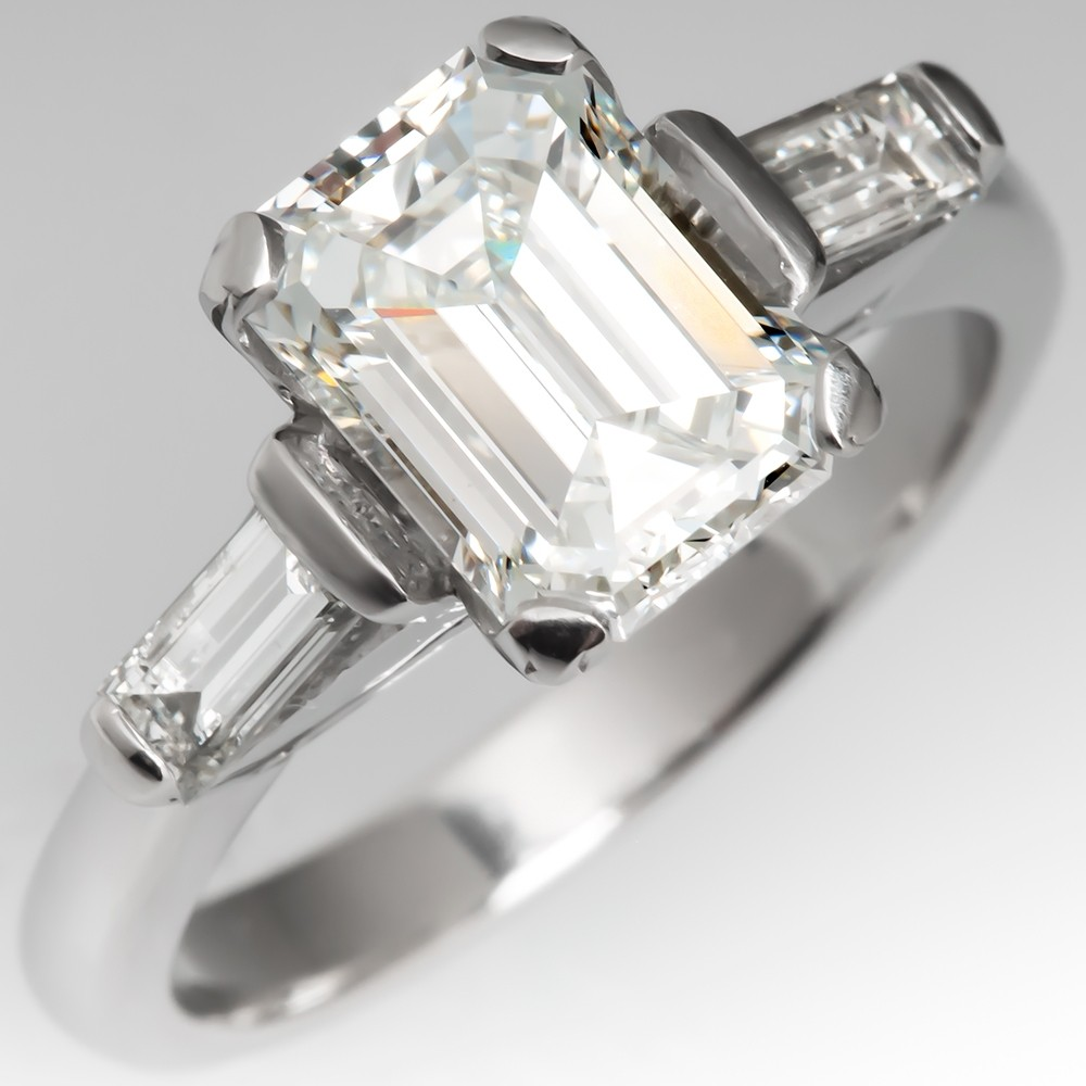 2 Carat Emerald Cut Diamond Engagement Ring Platinum GIA
