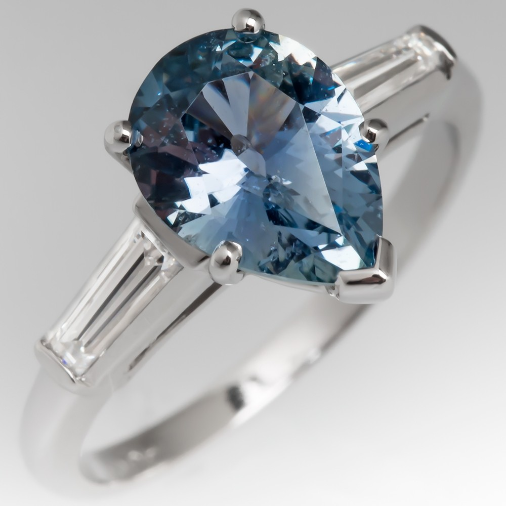 Pear Cut Pastel Sapphire Ring Platinum w/ Tapered Baguette Diamonds