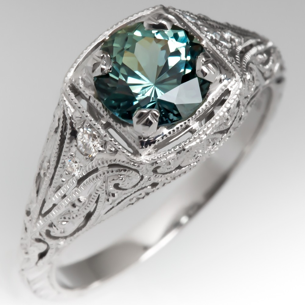 Icy Blue-Green Sapphire Filigree Engagement Ring 14K White Gold