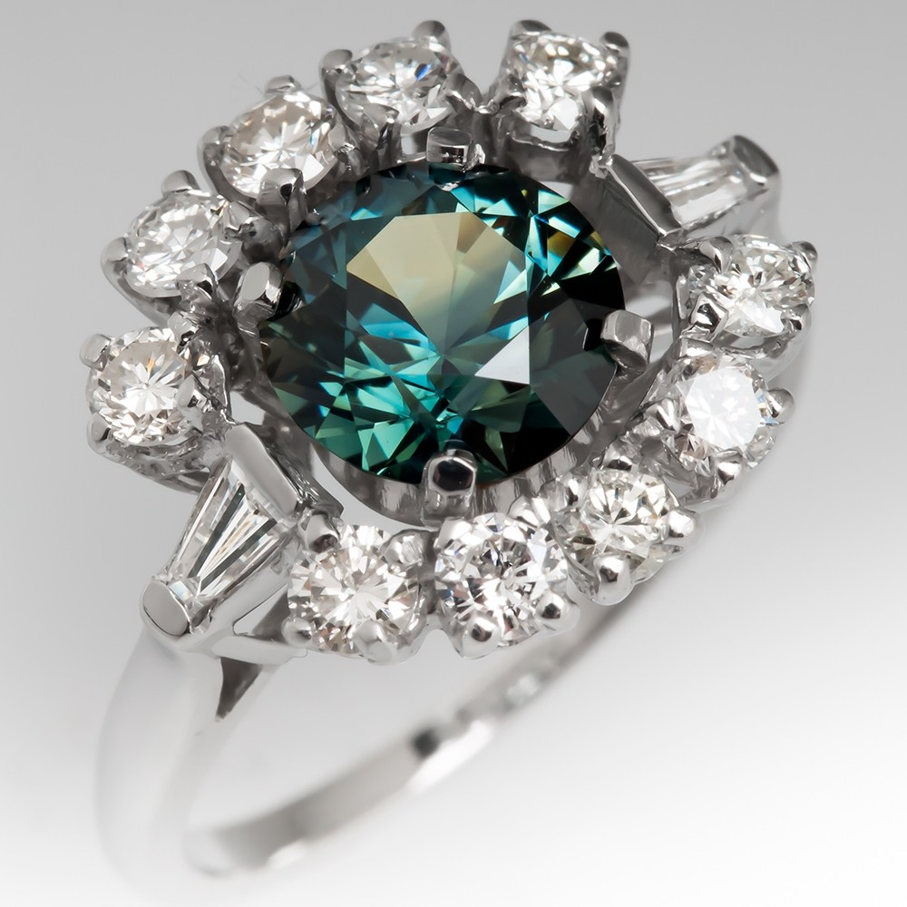 Rich Teal Sapphire Ring w/ Diamonds Retro 1950's Mounting