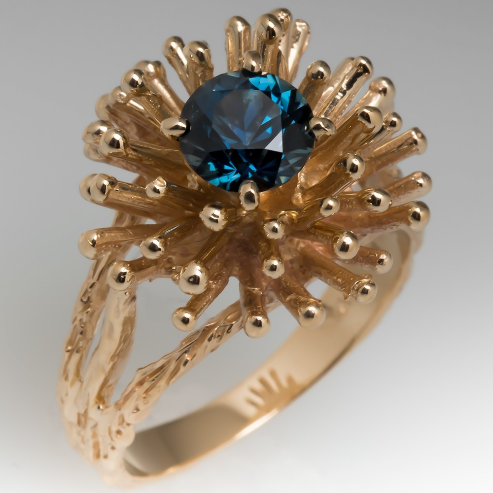 1960's Peacock Sapphire 14K Yellow Gold Burst Cocktail Ring