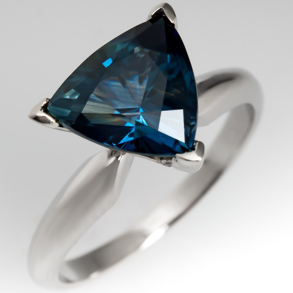 Triangle Cut Blue Green Sapphire Solitaire Ring Platinum