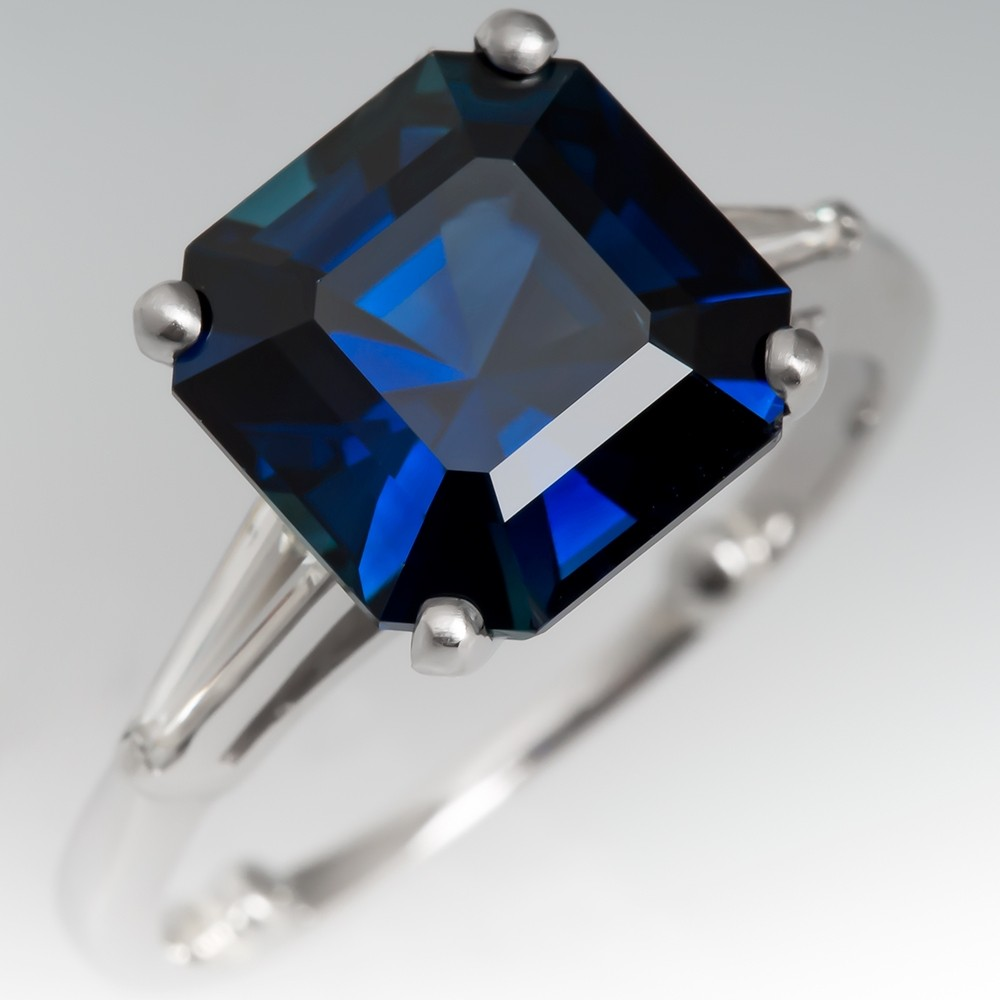 Square Cut Blue Green Sapphire & Baguette Diamond Ring Platinum