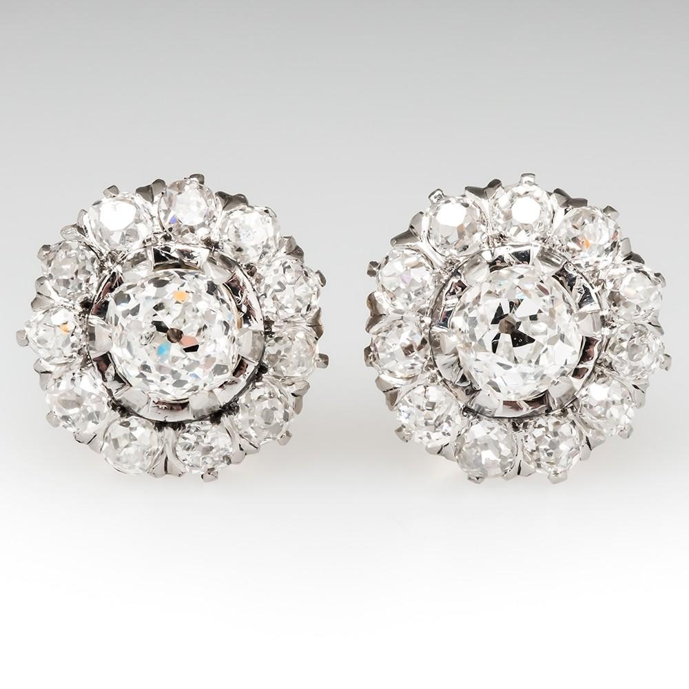 Late Victorian Stud Earrings Old Miner Diamonds Plat & 18K