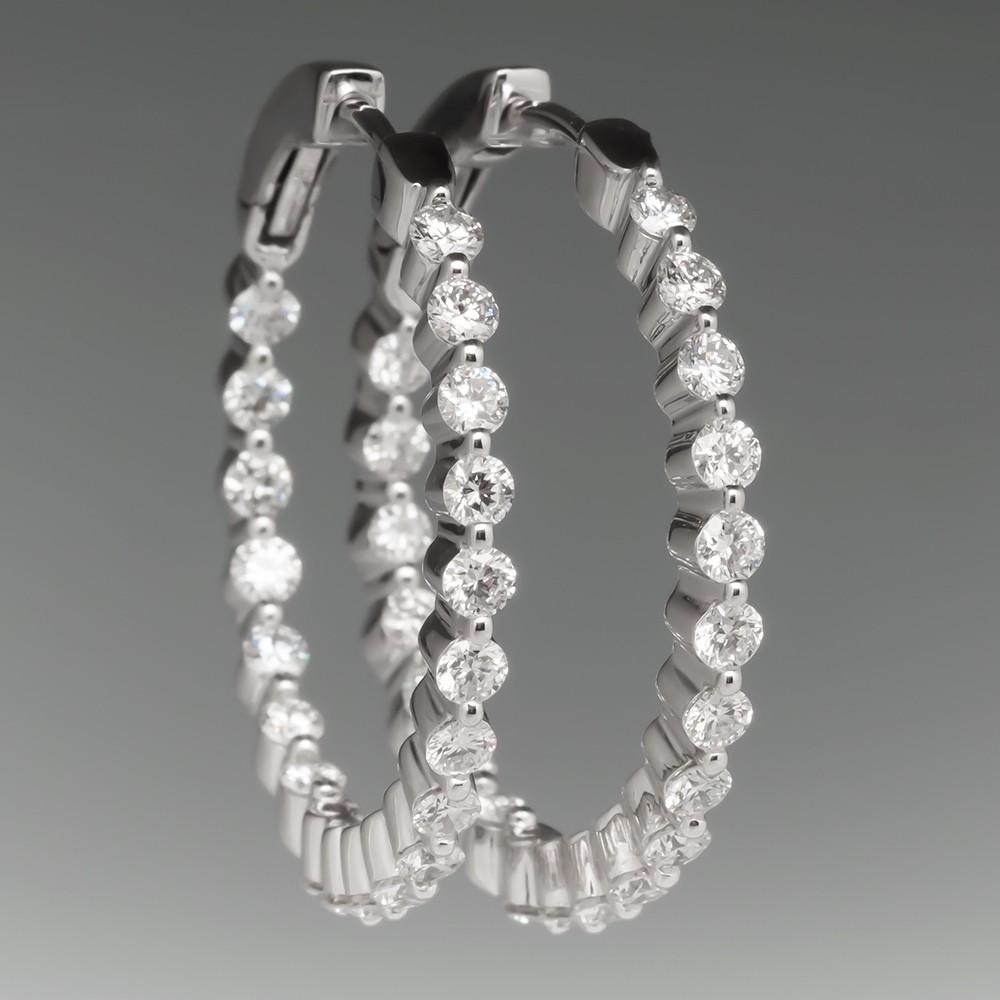 1.5 Carat Inside Out Diamond Hoop Earrings 14K White Gold