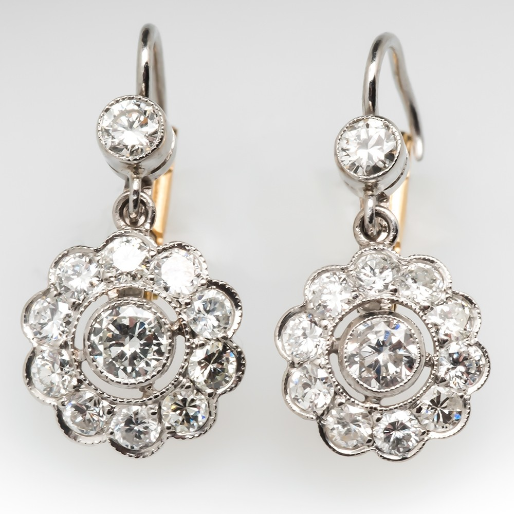 Lovely Drop Dangle Diamond Earrings Milgrain Platinum & 18K