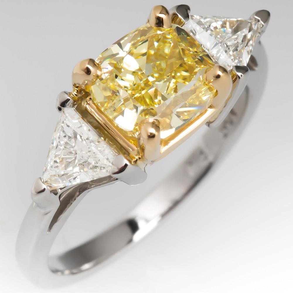 GIA 2 Carat Fancy Intense Yellow Diamond Engagement Ring