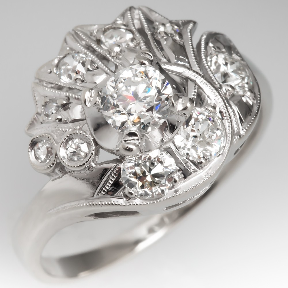 Retro 1940's Floral Old Euro Diamond Ring Platinum