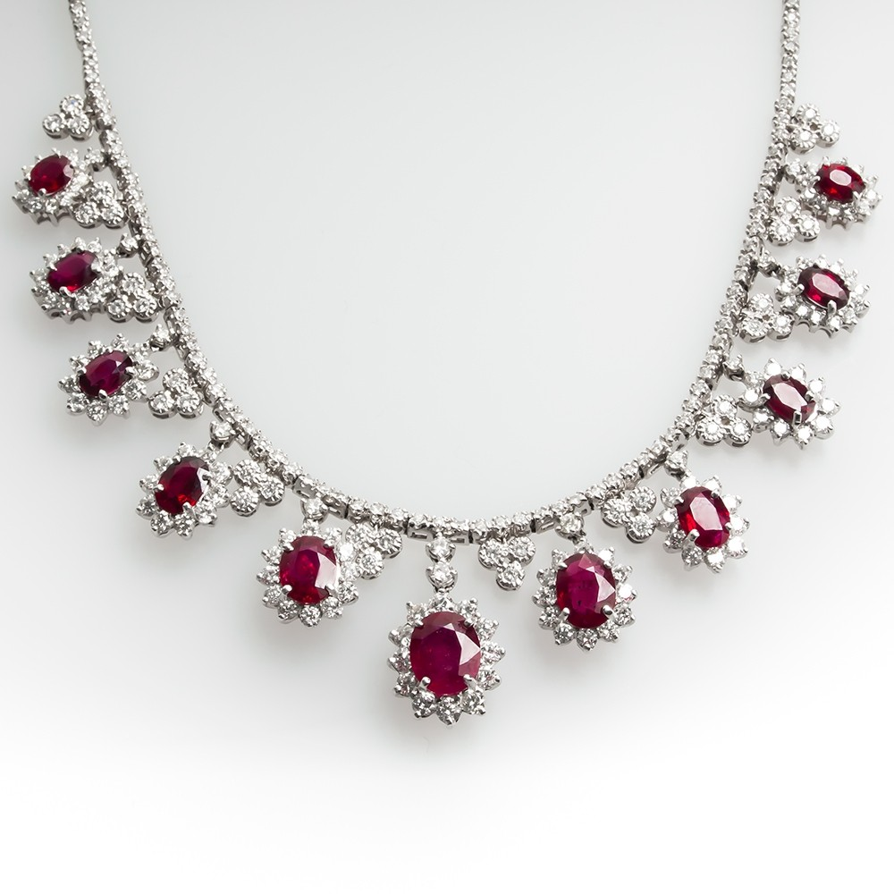 Stunning Ruby & Diamond Necklace 18K White Gold