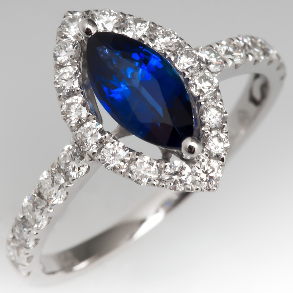 Marquise Sapphire & Diamond Halo Engagement Ring 18K