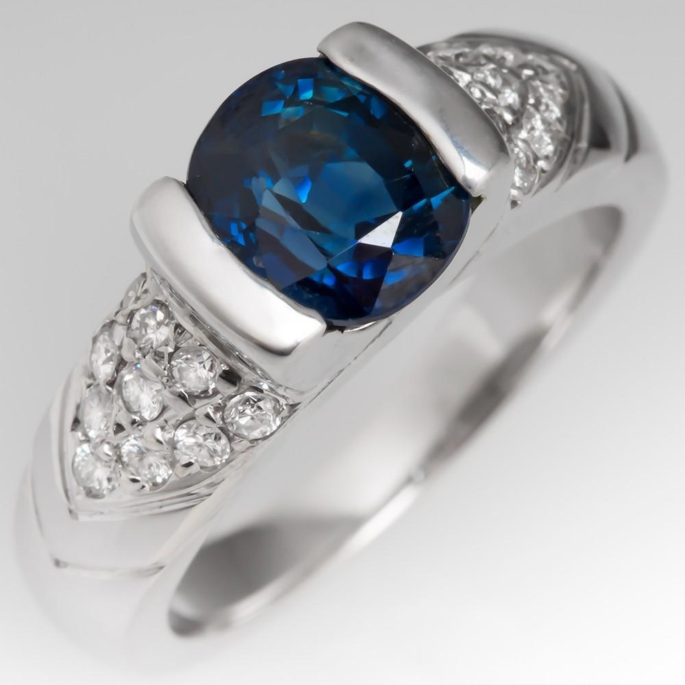 Estate 2 Carat Blue Sapphire Ring w/ Diamond Accents 18K