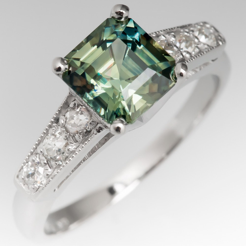 No Heat Square Emerald Cut Green Sapphire Engagement Ring Vintage Mount