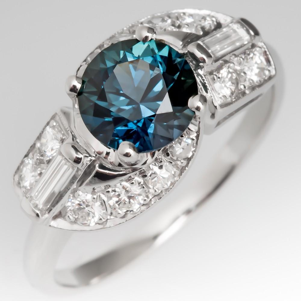 Rich Teal Sapphire Ring w/ Baguette & Round Diamonds 1950's Vintage Plat Mount