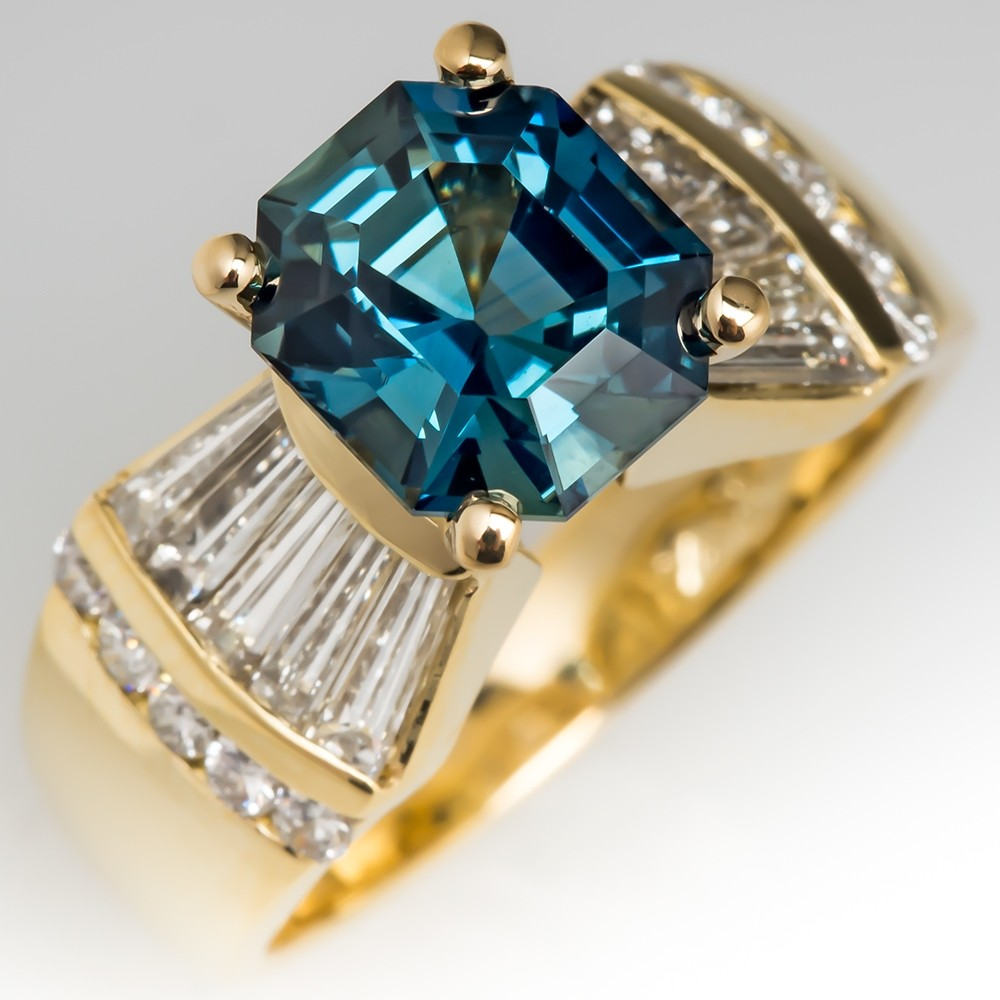 No Heat Emerald Cut Blue Green Sapphire Ring 18K Gold