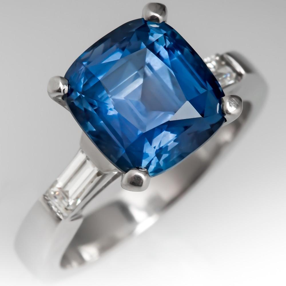 4 Carat No Heat Montana Sapphire Engagement Ring