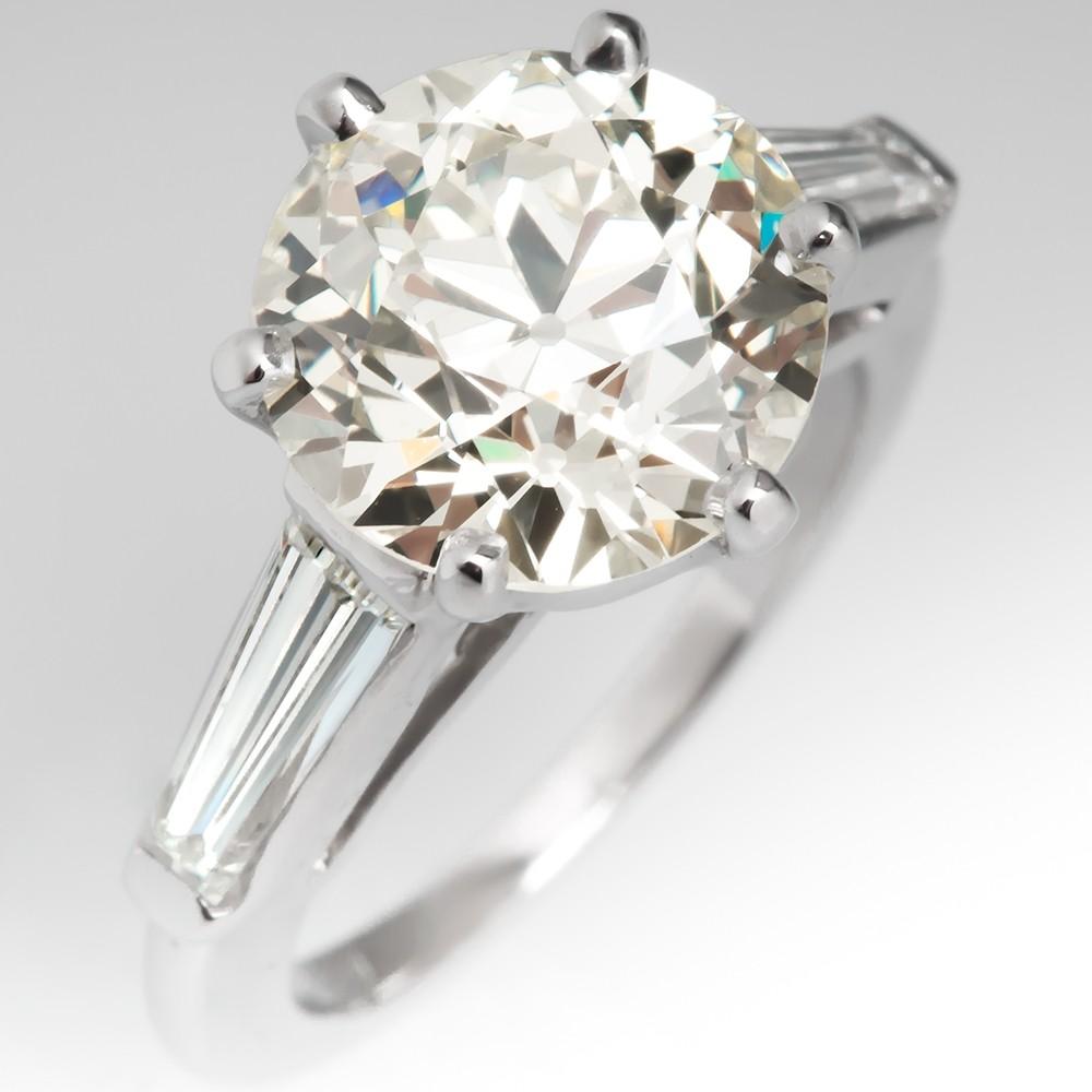 4 Carat Old European Cut Diamond Vintage Engagement Ring