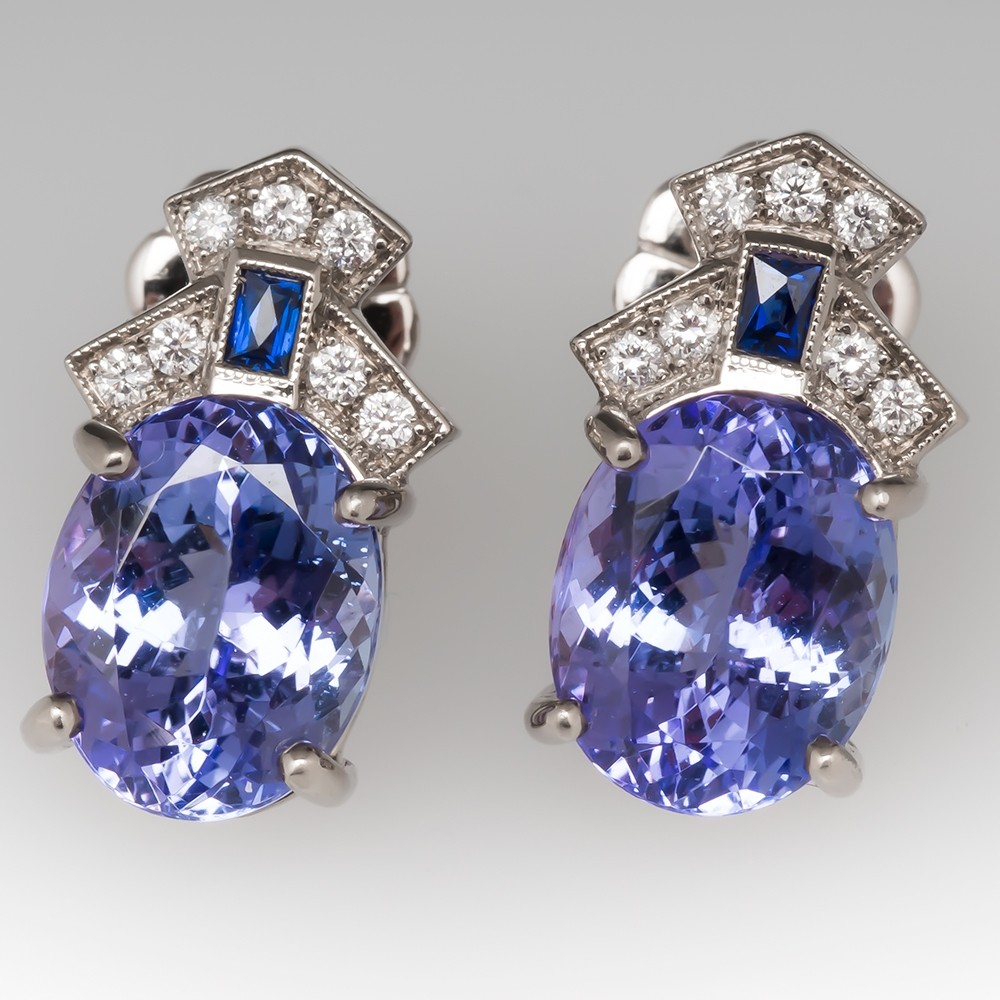Tanzanite Stud Earrings Detailed Settings Medium Size