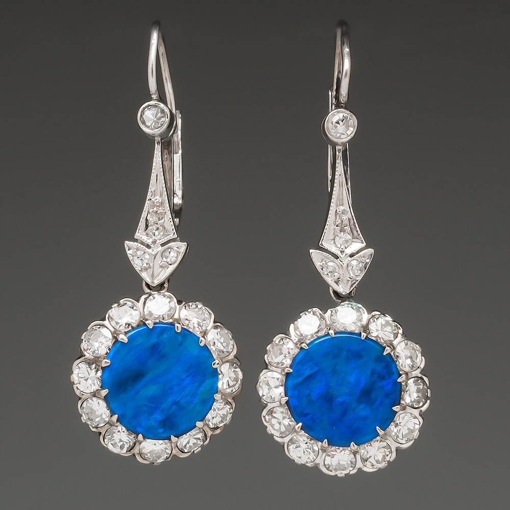 Stunning Vintage Black Opal & Diamond Drop Earrings 1950's