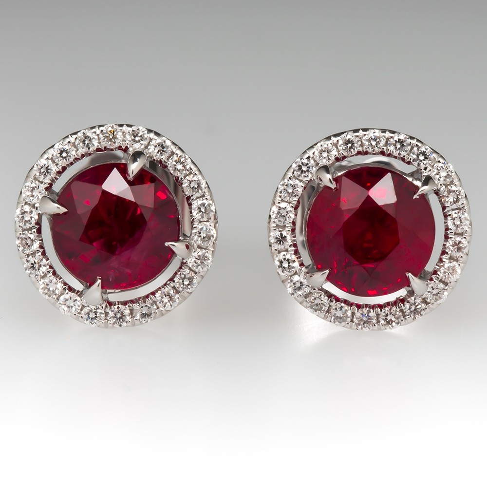 1.95CTW Vivid Red Ruby Diamond Halo Earrings 18K White Gold