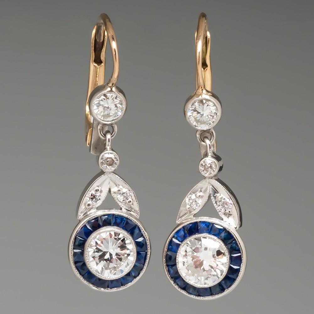 Blue Sapphire Diamond Floral Dangle Earrings Platinum & 18K
