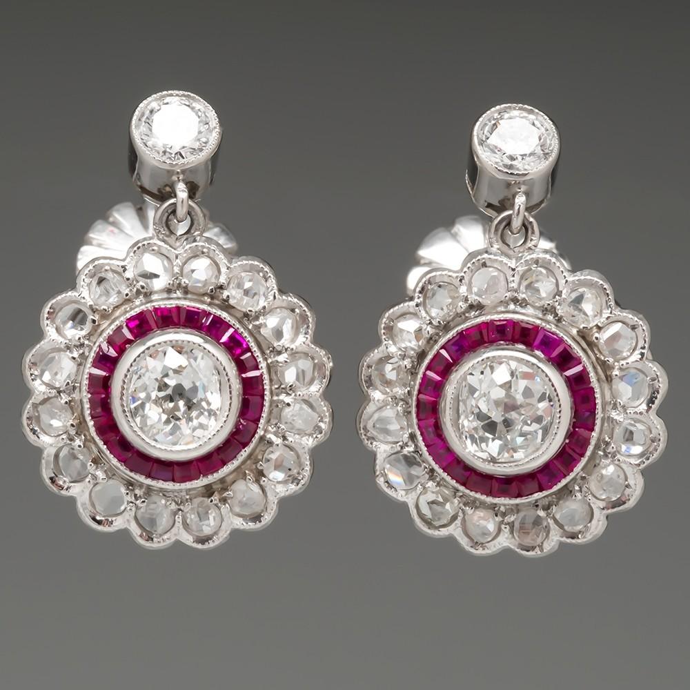 Ruby Diamond Halo Earrings Old Euro & Rose Cut Diamonds in Platinum