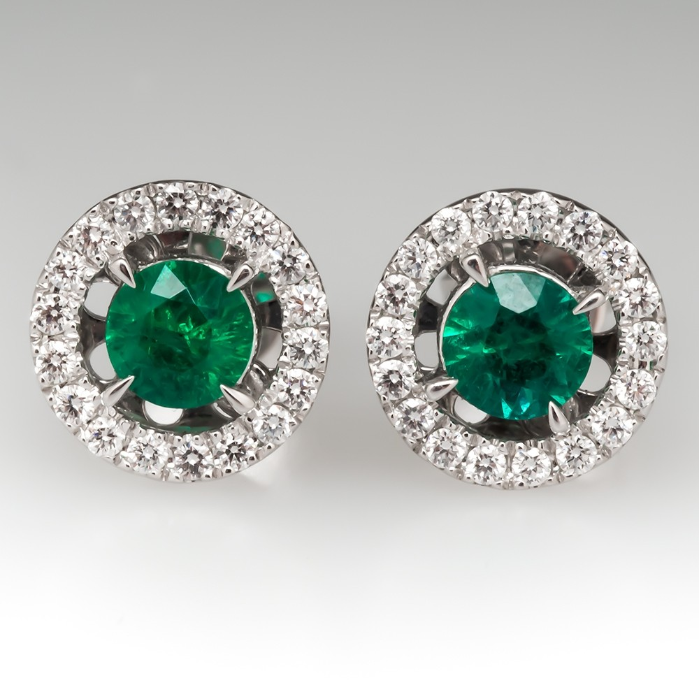 Emerald Diamond Halo Stud Earrings 18K White Gold