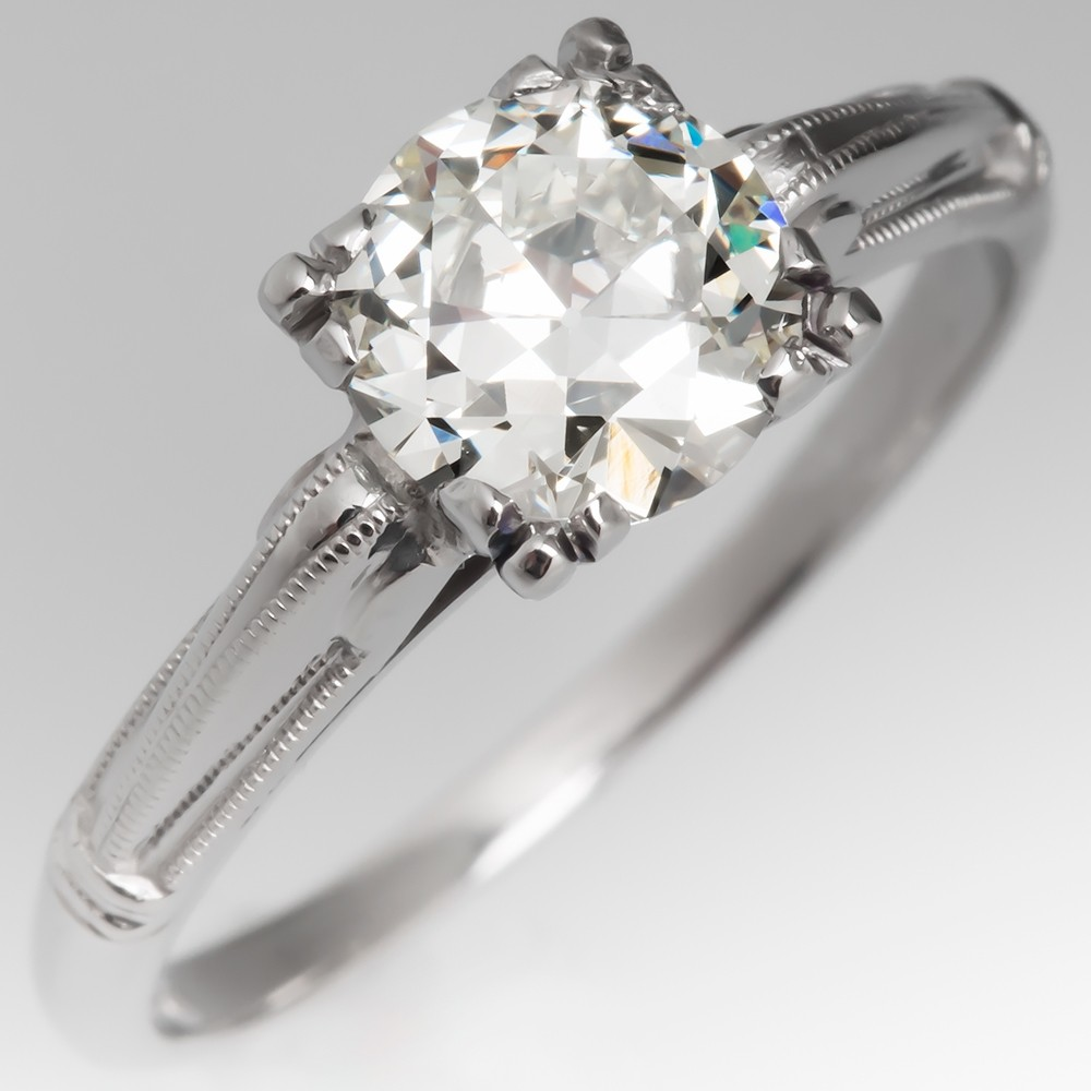 Vintage Diamond Solitaire Engagement Ring w/ Detailing in Palladium
