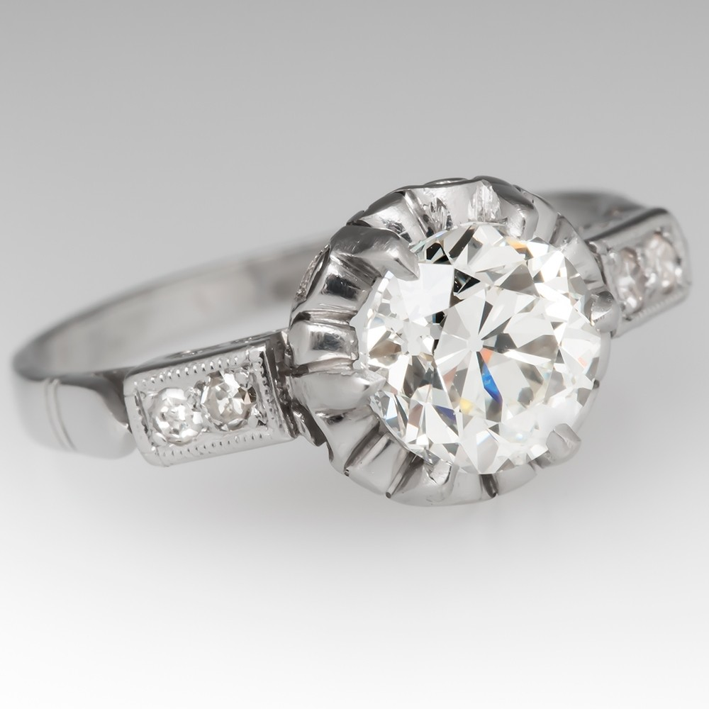 Antique Buttercup Engagement Ring Old Euro Diamond in Platinum