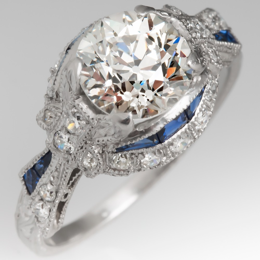 Art Deco Engagement Ring Old Euro Diamond & Sapphires in Platinum
