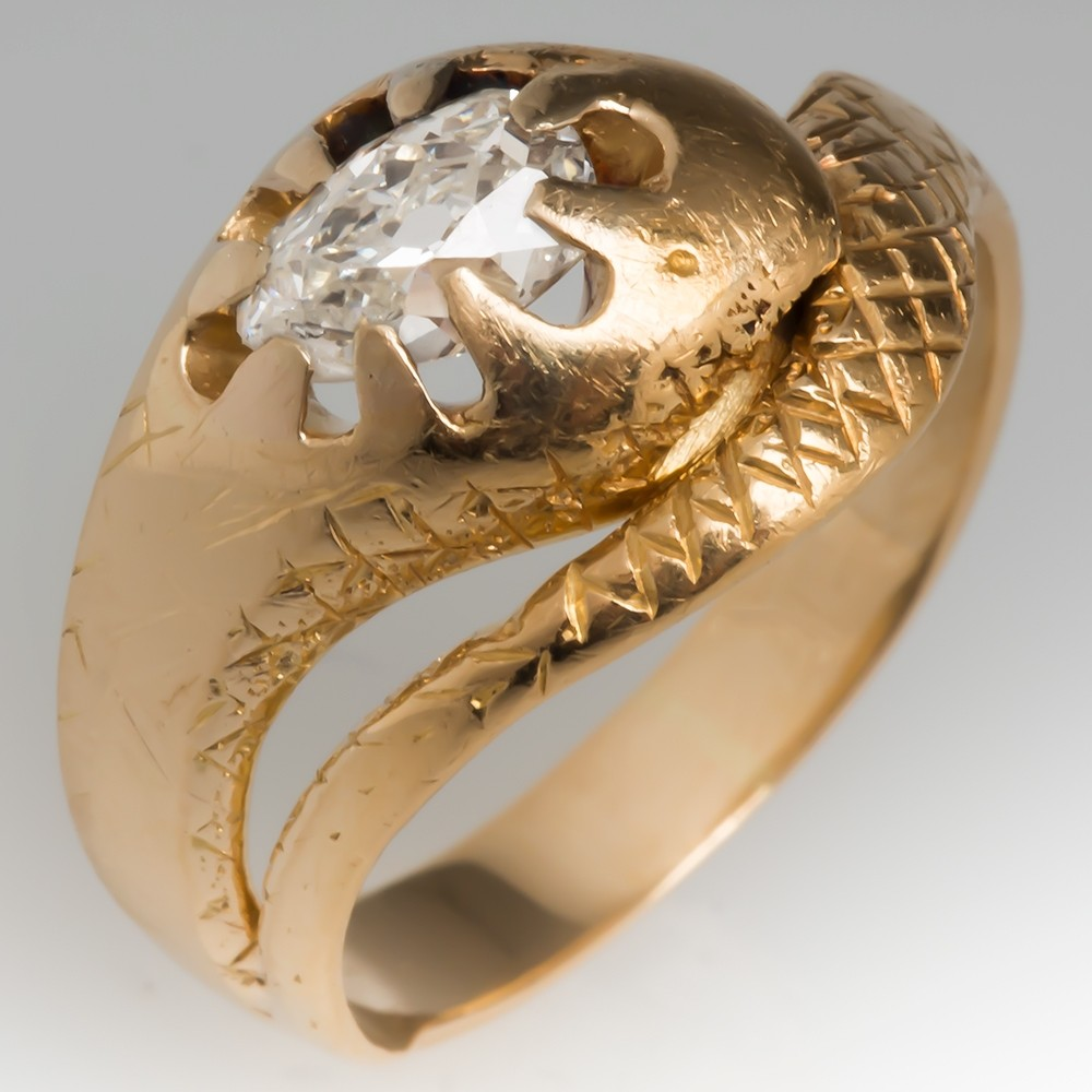 Victorian Snake Ring Old Mine Cut Diamond 14K Gold