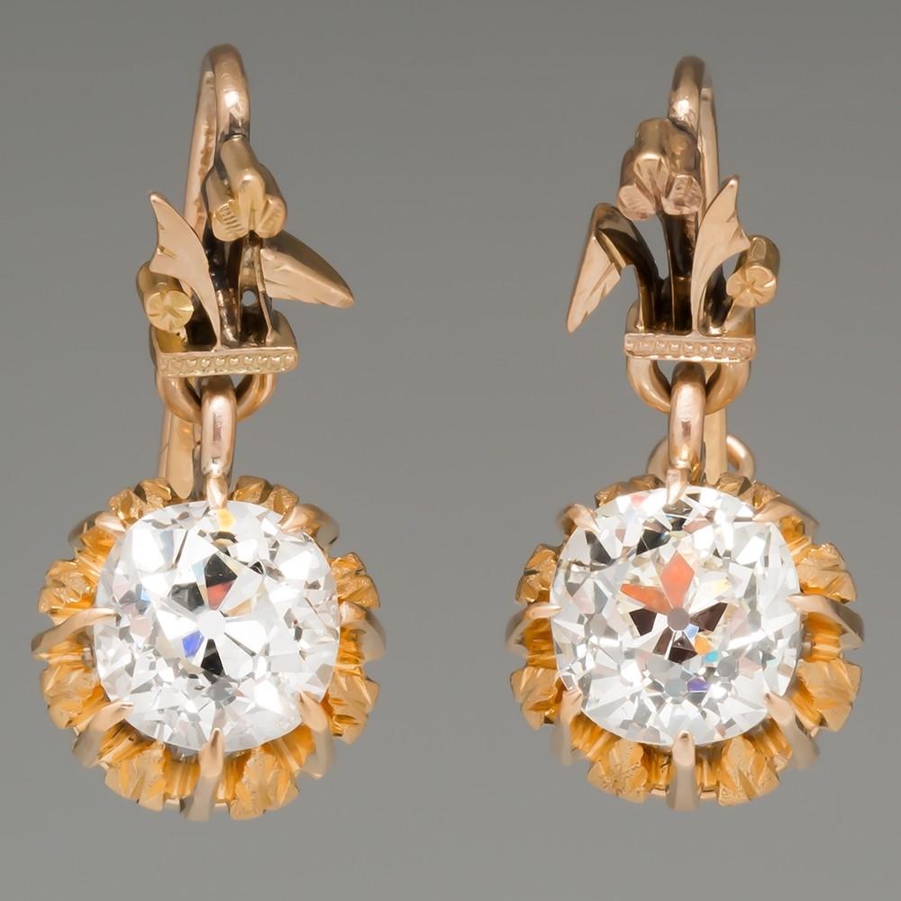 Victorian Old Mine Cut Diamond Drop Earrings 14K