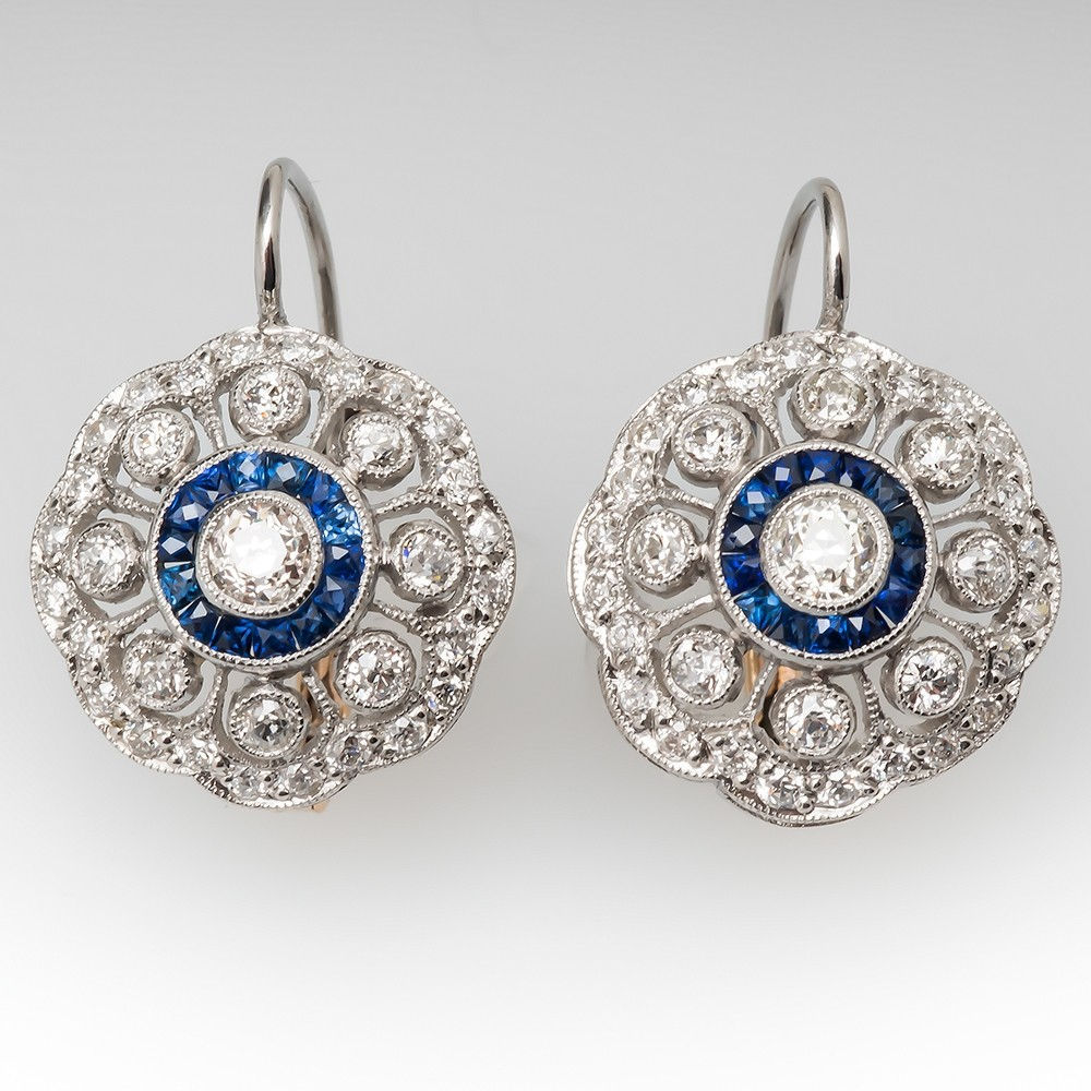 Diamond Sapphire Openwork Dangle Earrings Platinum & 18K