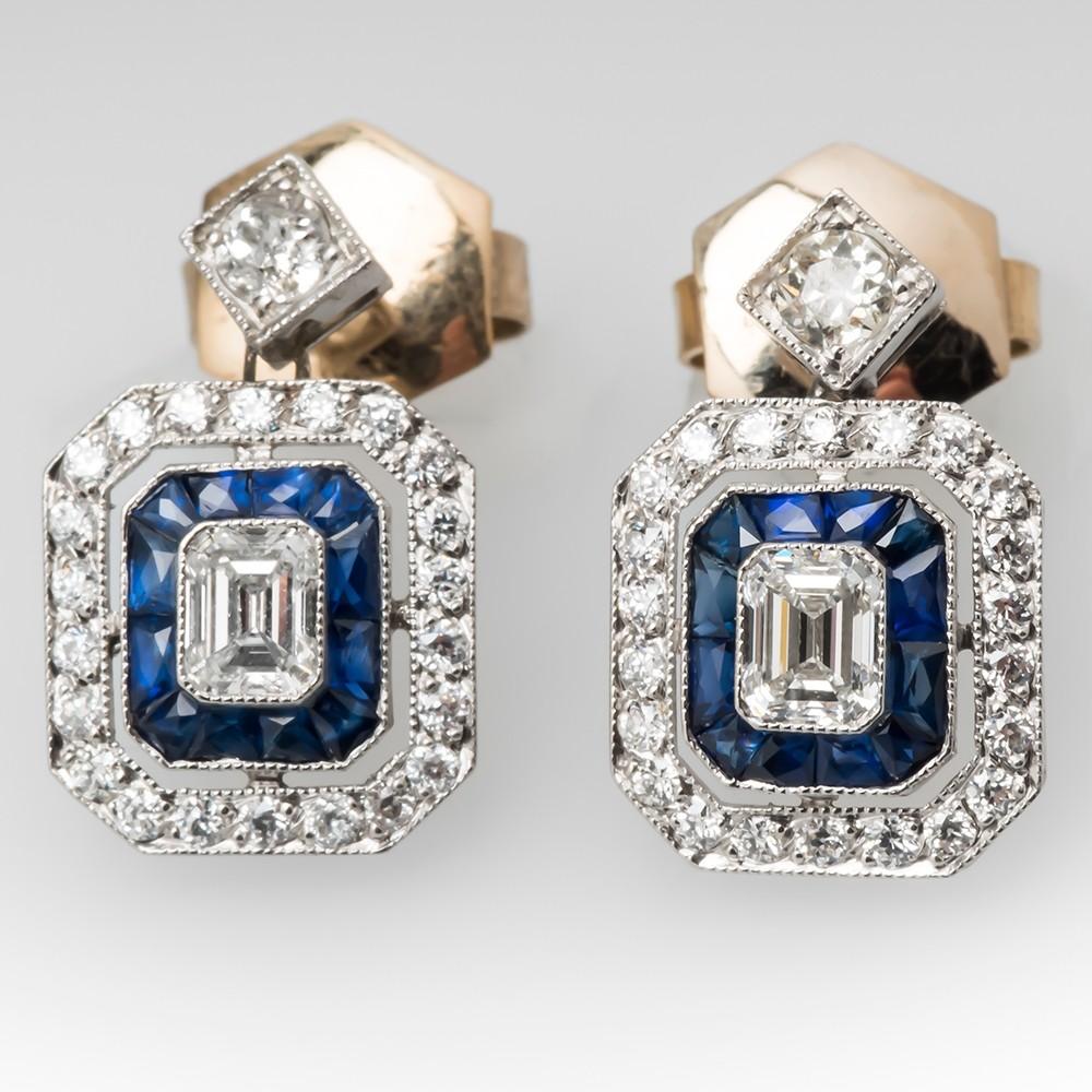 Emerald Cut Diamonds & Sapphire Drop Earrings Platinum & 18K