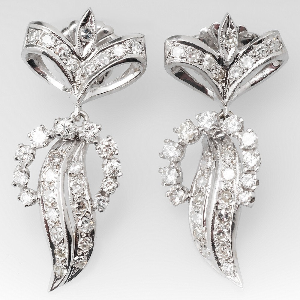 Large Diamond Dangle Earrings Ribbon Details 14K White Gold