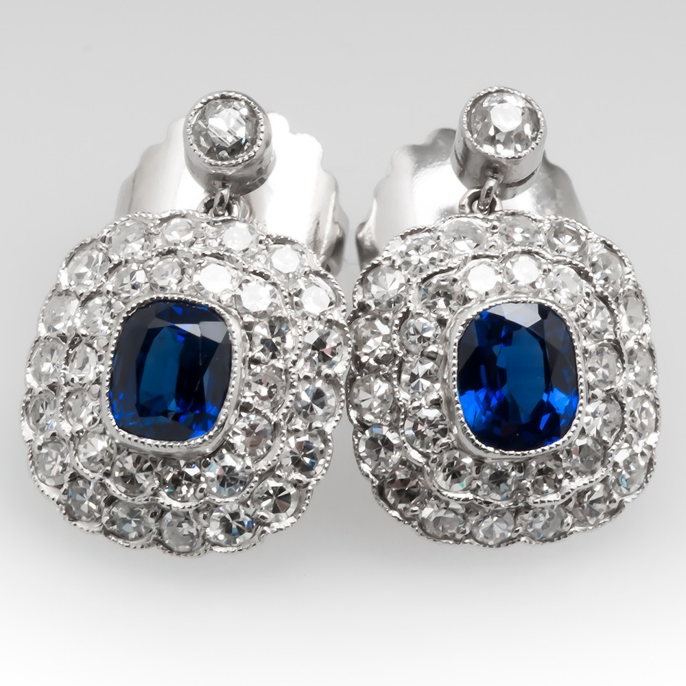 Vivid Blue Sapphire & Diamond Dangle Earrings Platinum