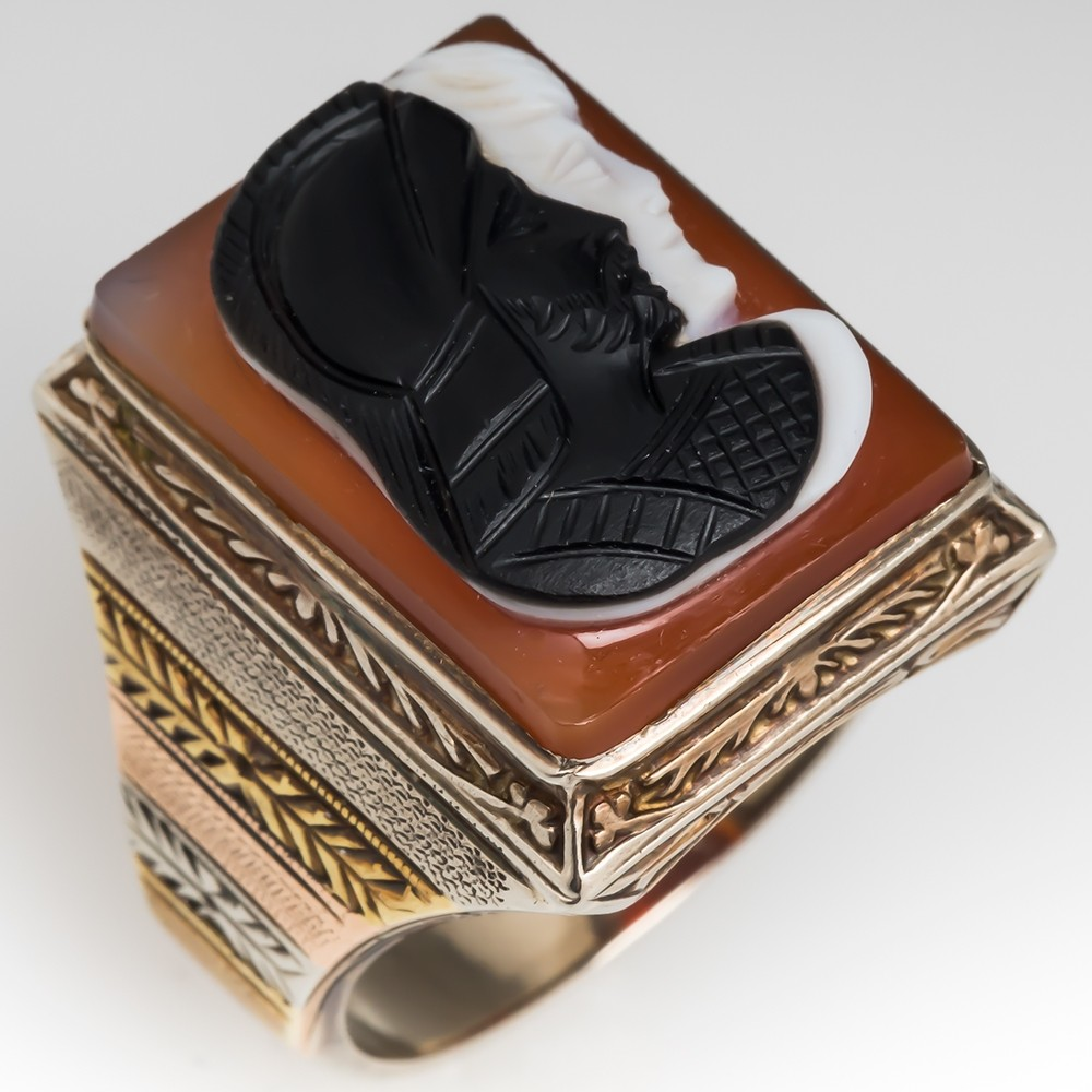 Vintage Mens Sardonyx Cameo Ring 14K White Gold