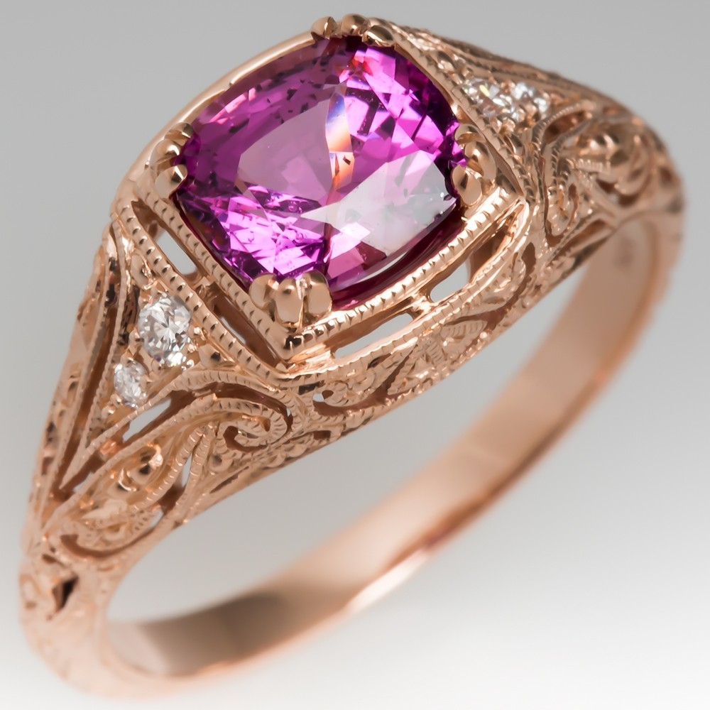 14K Rose Gold Pink Sapphire Engagement Ring Filigree