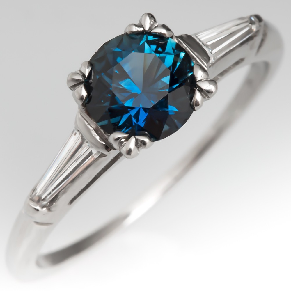 Stunning Teal Sapphire Engagement Ring Low Profile Vintage Mount