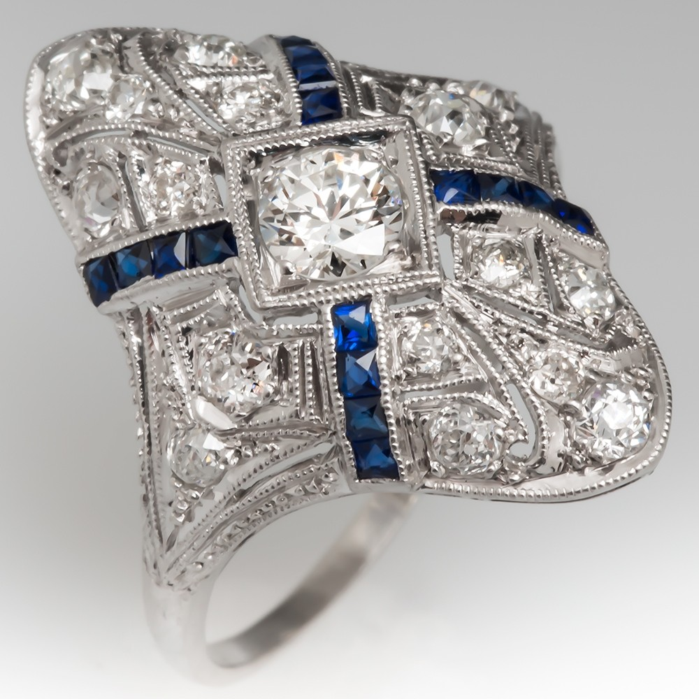 Antique Diamond Filigree North to Ring Platinum w/ Lab Sapphires