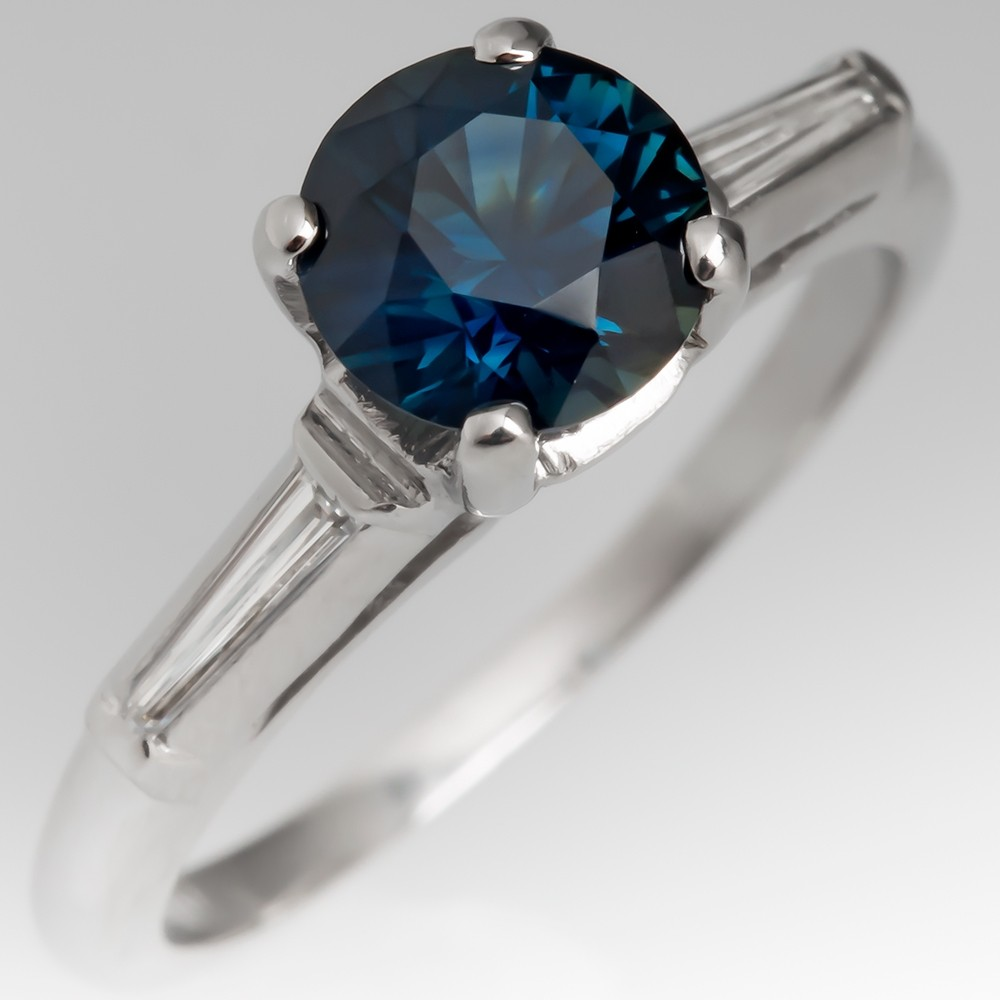 No Heat Teal Sapphire Engagement Ring Vintage Baguette Diamond Platinum Mount