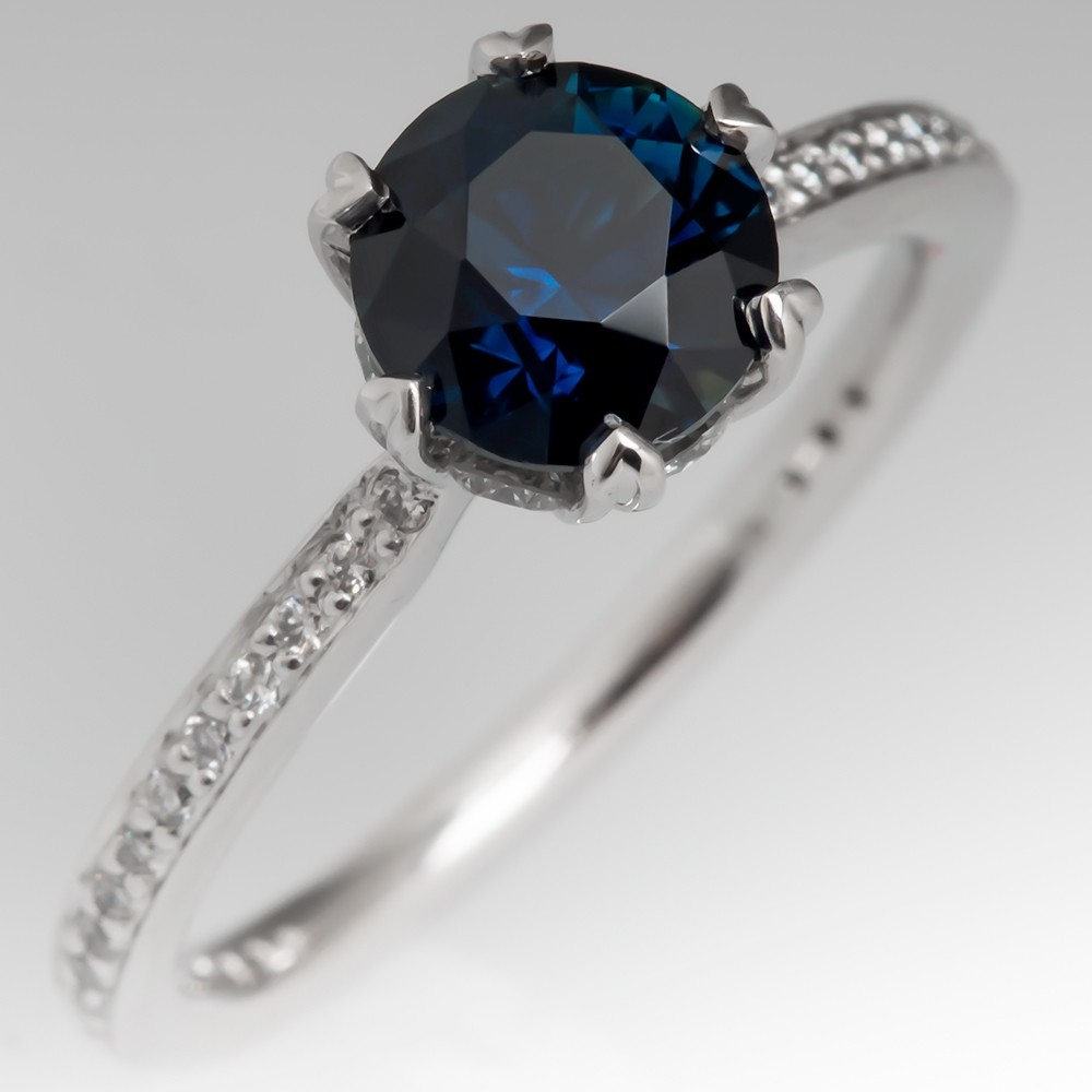 No Heat Dark Blue Sapphire Engagement Ring 14K Ritani
