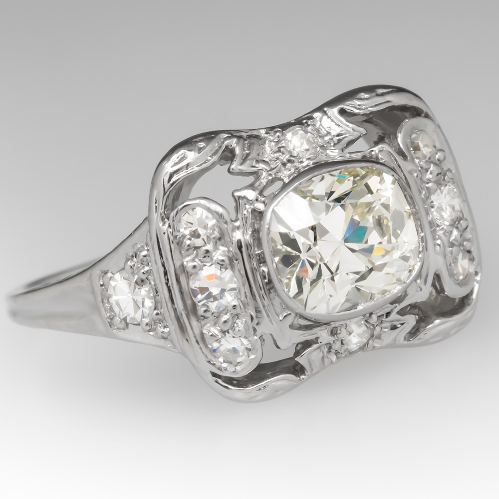 Unique Antique Engagement Ring 1 Carat Diamond Floral Platinum