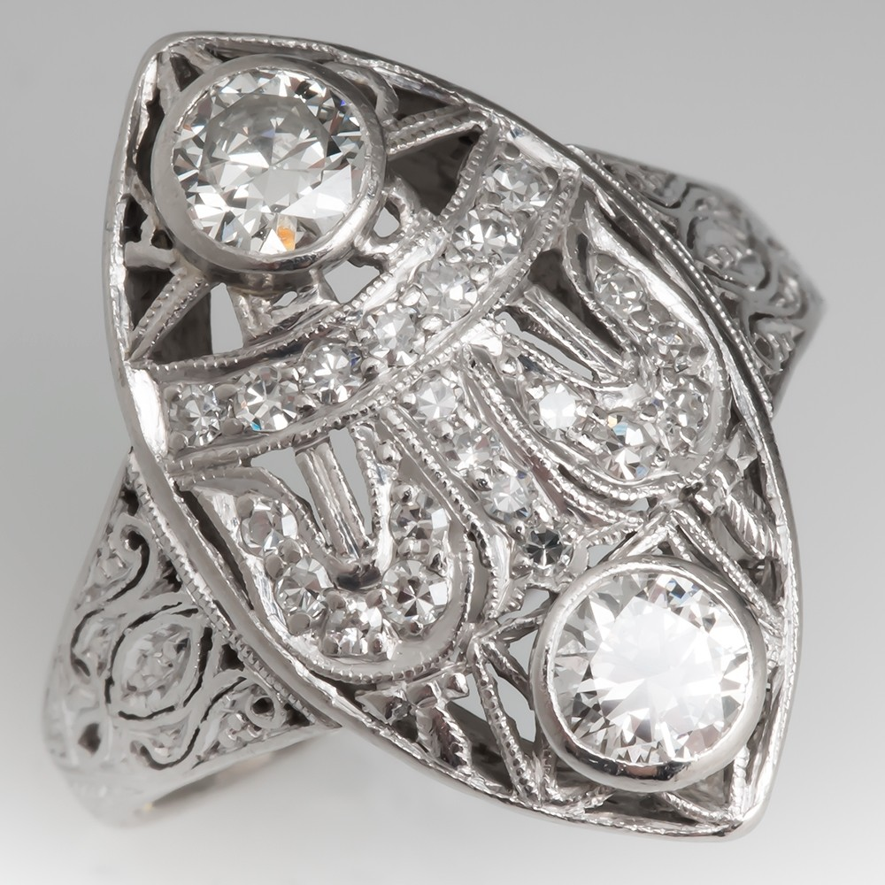Late 1930's Antique Navette Diamond Ring Highly Detailed Platinum