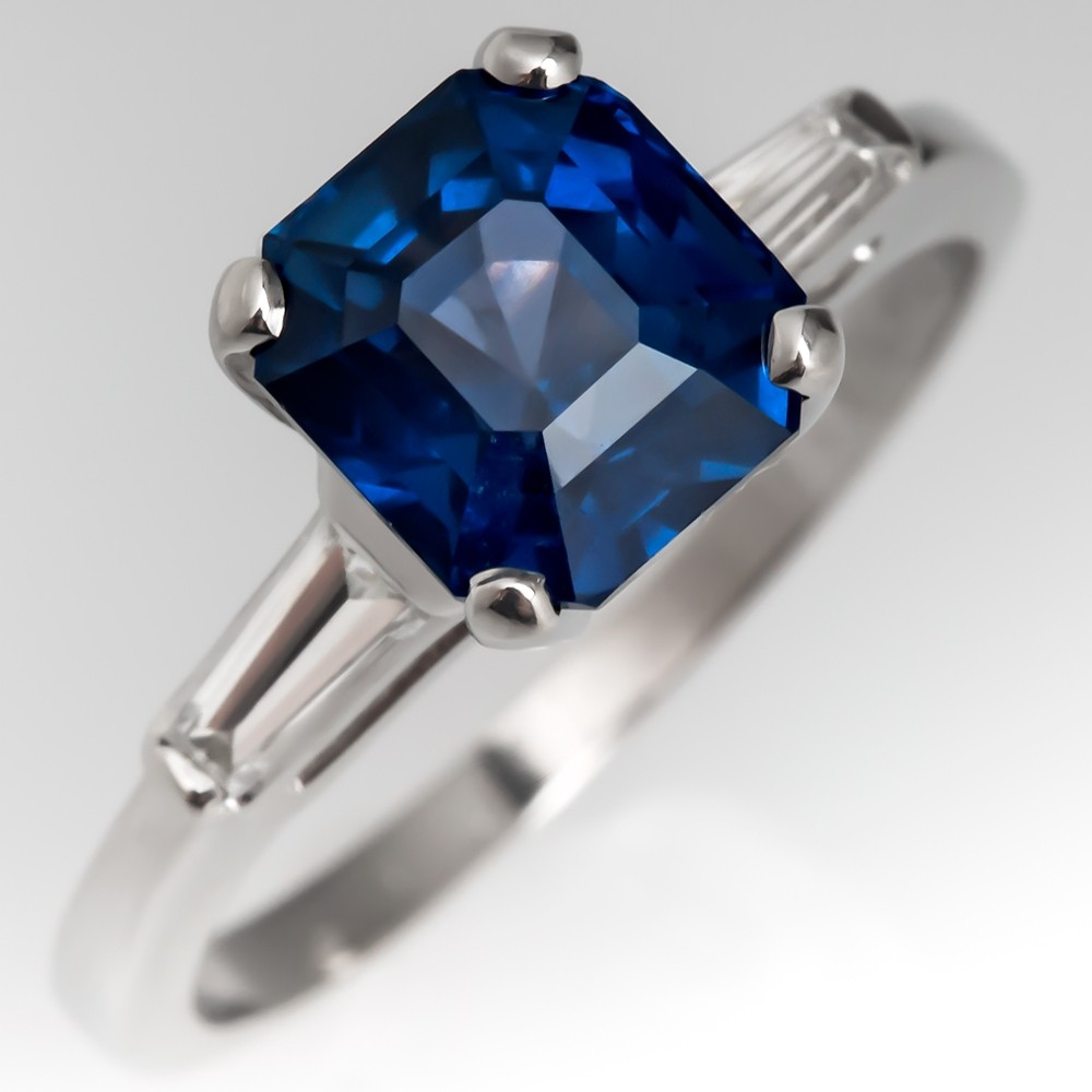 Square Emerald No Heat Blue Sapphire Engagement Ring